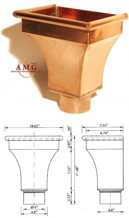 AMG Copper Conductor Head Paris 3 inch or 4 inch outlet, sold at the Slate Roof Warehouse.