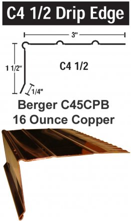 Berger Model C45CPB 16 Ounce Copper Drip Edge, 200 Lineal Feet Carton sold at the Slate Roof Warehouse.