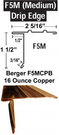 Berger Model F5MCPB 16 Ounce Copper Drip Edge, 150 Lineal Feet Carton sold at the Slate Roof Warehouse.