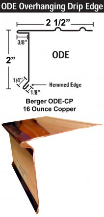 Berger Model ODE-CP 16 Ounce Copper Overhanging Drip Edge, 150 Lineal Feet Carton